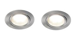 2-delige set LED meubel inbouwspots, geborsteld aluminium