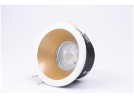 Waterdichte (IP65) badkamer spot GU10, mat wit/goud verzonken alumunium