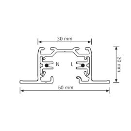 Global Base inbouw 3-fase rail BGF2200-3, 200cm, wit