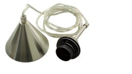 Transparant pendelsnoer 150cm, nikkelmat, E27
