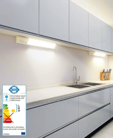 LED  wandlamp en onderbouw 50 cm met dubbel stopcontact, 3000K warm wit licht