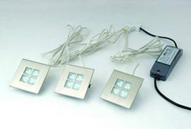 3-delige set LED meubel inbouwspots, geborsteld aluminium 4000K (natuurlijk wit)