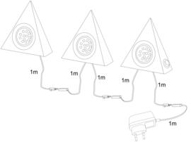 3-delige set LED RVS driehoekspots, 3000K warm wit licht