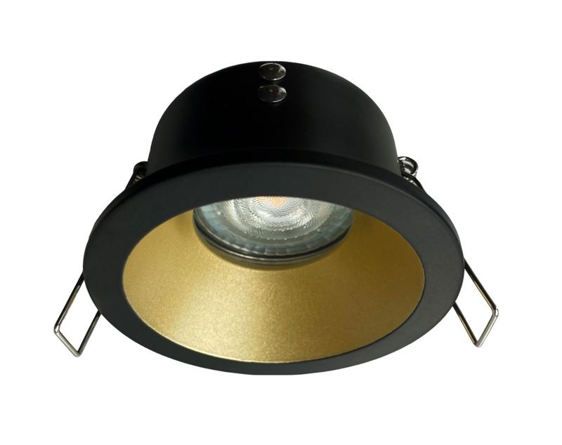 Waterdichte (IP65) badkamer spot GU10, zwart/goud verzonken alumunium