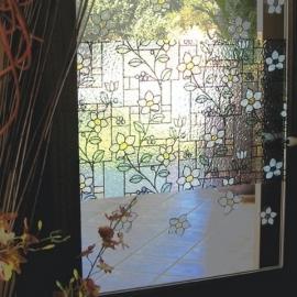 Statische raam groen wit blauw bloemen  -27