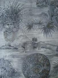 indianen behang zilver grijs