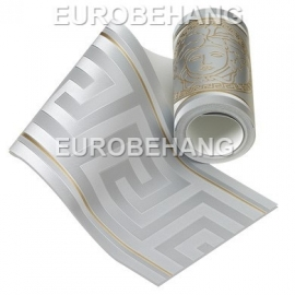 Versace Behangrand 93522-5 zilver goud grieksesleutel