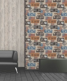 Dutch Wallcoverings Kaleidoscope  Sloophout Borden Behang e80901