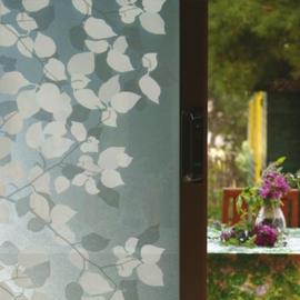 statische raamfolie grijs met witte bloem  -8