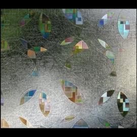 Statische raam glas in lood effect rondjes  -51