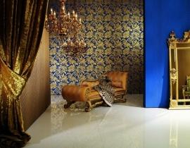 Glööckler Vliestapete blauw goud behang 52547