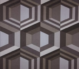 Dutch Wallcoverings Kinetic J407-09 Retro behang the 70´s 3D effect grijs beige taupe