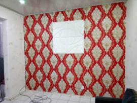 Barok behang klassiek rood goud   360206