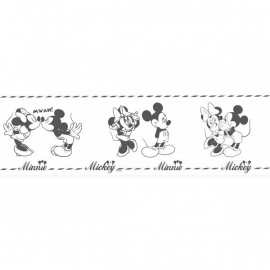 minnie mouse en micky zwart wit behangrand Rasch Disney Deco 3506-1