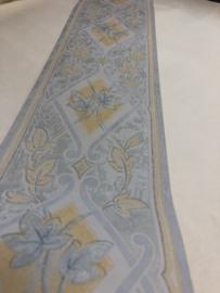Behangrand Blauw met bloemen 047