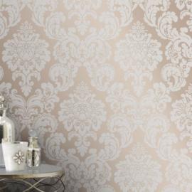 Barok behang brons bling bling glitter en parelmoer