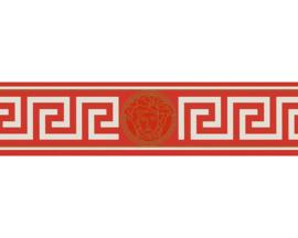 Versace Behangrand 93522-1 grieksesleutel wit rood