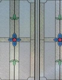 Statische raam glas in lood effect bloemen  -34