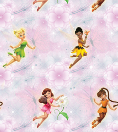 Dutch Disney Fairies pink flowers behang WPD 9736