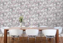 Bloemen Behang zilver roze  vliesbehang