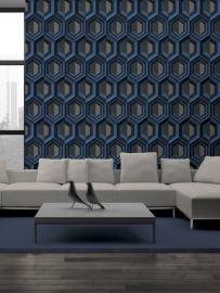 Dutch Wallcoverings Kinetic J407-01 Retro behang 3D effect blauw grijs