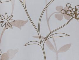 Beige Bloemen Behang 6505-10