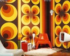 retro behang rondjes  Retro Deluxe 7013-12 oranje bruin geel vlies