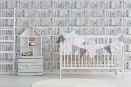 Kids @Home Botany Librry White Blue Behang 103837