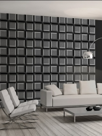 utch Wallcoverings Kinetic J424-09 Retro behang zwart grijs blokken