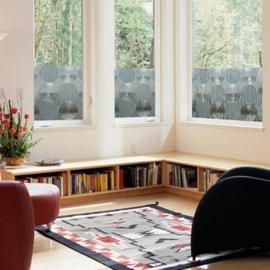 Statische raam folie grote rondjes retro  -46