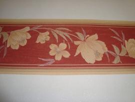 rood beige modern bloemen behangrand