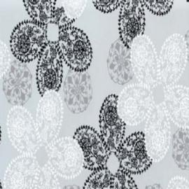 Statische raam folie moderne bloemen zwart wit  -47