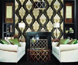 Barok behang klassiek zwart goud 360207