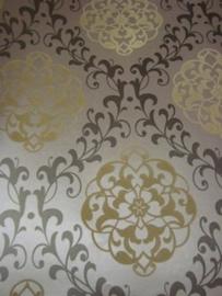 Barok Velours Behang Bruin Creme Mocca 7244-3