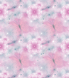 Dutch Disney Fairies  pink flowers background behang WPD 9737