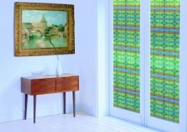 Statische raam glas in lood effect  groen  -43