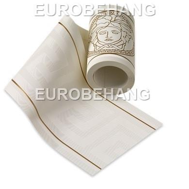 Versace Behangrand 93522-3 wit goud grieksesleutel