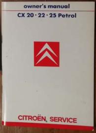 New '86 Citroen CX Owner's Manual