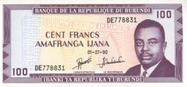 Burundi P29.c 100 Francs 1990