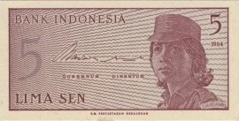 Republiek Indonesië B544 P91 H282: 5 Sen 1964
