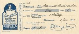 Nederland, Wormerveer, Kwitantie, K.Hartog & Zn., 1944