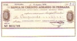 Banca di credito agrario di Ferrara - 50 Lire