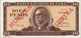 Cuba 10 Pesos 1987 SPECIMEN UNC P104.S