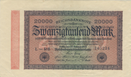Duitsland P085 20.000 Mark 1923-02-20 Ros.084.g Wmk: Hekwerk met 8