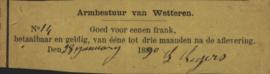 België - Wetteren  1 Frank 1890