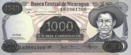 Nicaragua P150 500.000 Córdobas on 1.000 Córdobas 1987