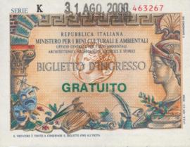 Italy - Toegangsbewijzen - Biglietto D'Ingresso  Gratuito 2000
