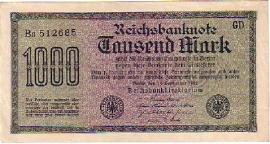 Deutsches Reich Ros075: Reichsbanknote Tausend Mark 1922 1.000 Mark