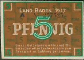Duitsland Baden Ros.208 5 Pfennig 1947