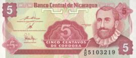Nicaragua P168 B462b 5 Centavos 1991